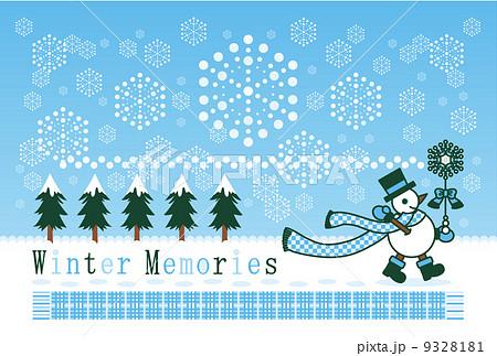 ポストカードサイズイラスト「冬の雪達磨雪の魔法」Winter Memories 9328181