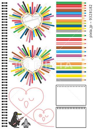 コピースペースワンポイントカットイラストデザイン素材「ペンギンの親子ハート型色鉛筆スケッチブック」カラフル 9328182