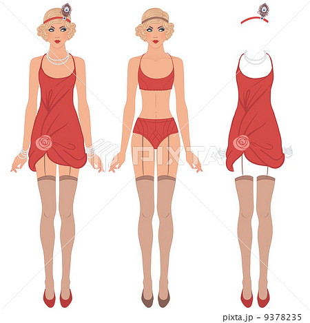 flapper girl cute dress up paper doll body template outfit anの