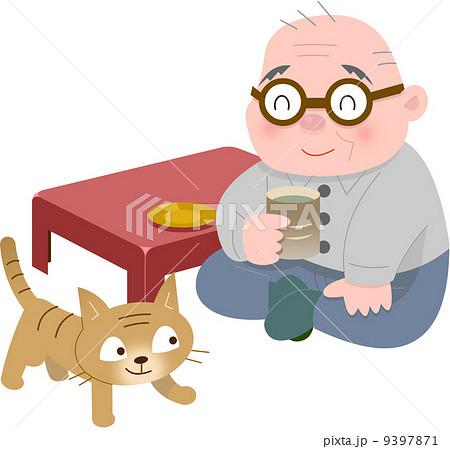 座敷でお茶をのむお爺さん 9397871
