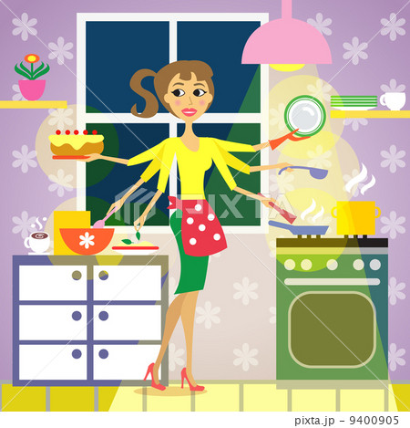 kitchen woman cuisineのイラスト素材 9400905 pixta