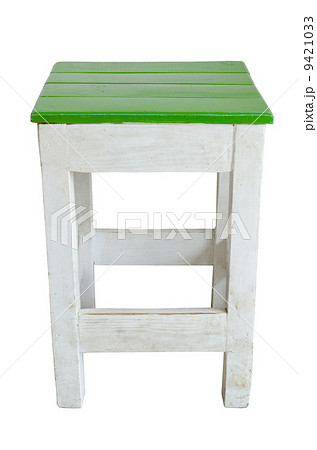 Vintage Old wooden green chair isolated on white background .の写真素材 [9421033] - PIXTA