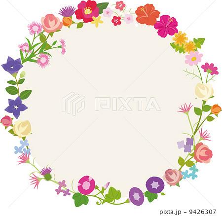 花の円形フレームのイラスト素材 9426307 Pixta