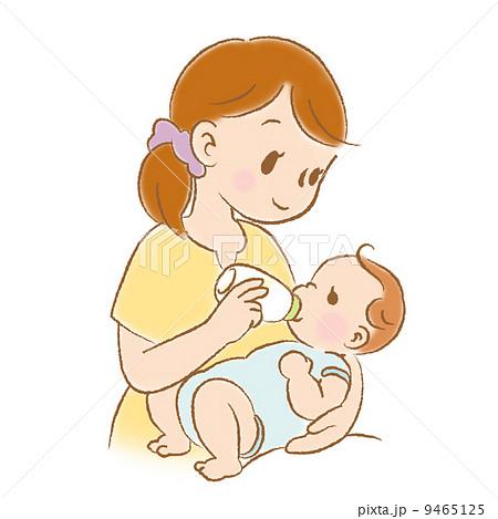 ママと赤ちゃん ミルク授乳中 カラーのイラスト素材 9465125 Pixta