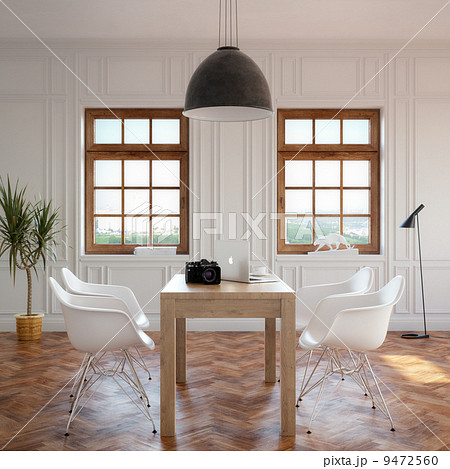Elegance Dining Room With Classic Wooden Table And Cozy Chairsのイラスト素材 [9472560] - PIXTA