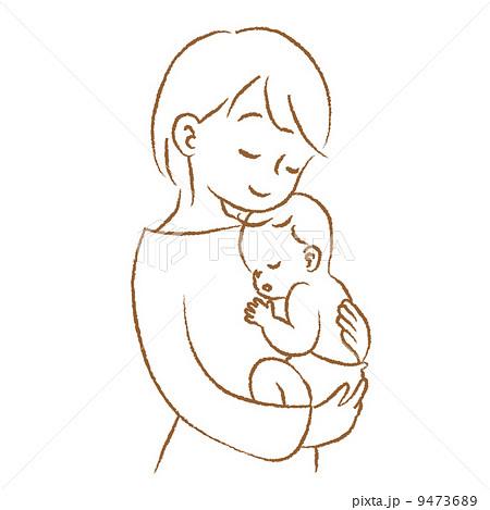 ママと赤ちゃん 抱っこ 線画のイラスト素材 9473689 Pixta