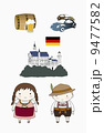illustration of icons and characters representing Germany 9477582