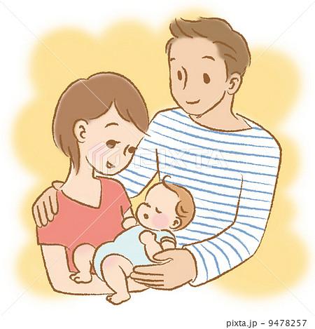 ママとパパと赤ちゃん 抱っこ カラー背景つきのイラスト素材 9478257