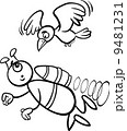 flying alien cartoon for coloring book 9481231