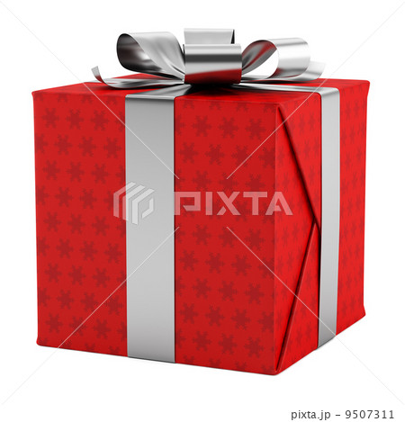 Red gift box with silver ribbon isolated on white background red gift box with silver ribbon isolated on white background negle Choice Image