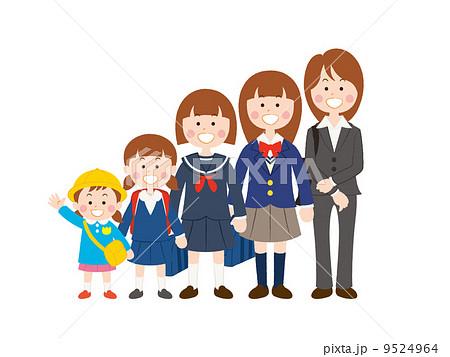 女子学生(成長過程)_01 9524964