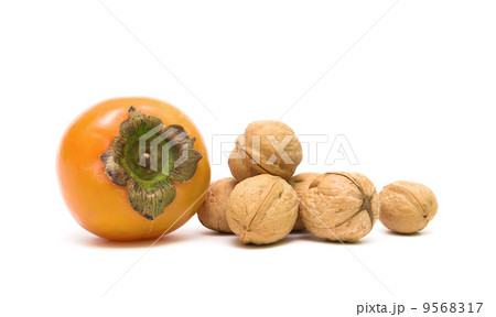 persimmons and walnuts isolated on white background 9568317