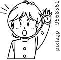 挙手 ベクター 男子生徒のイラスト 9568561