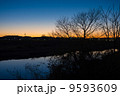 河川敷 多摩川 夕暮れの写真 9593609