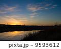 多摩川 夕暮れ 夕焼けの写真 9593612