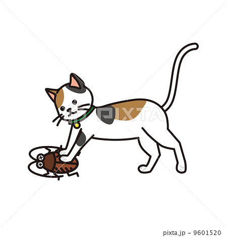 ネコ ゴキブリ 退治のイラスト素材 9601520 Pixta