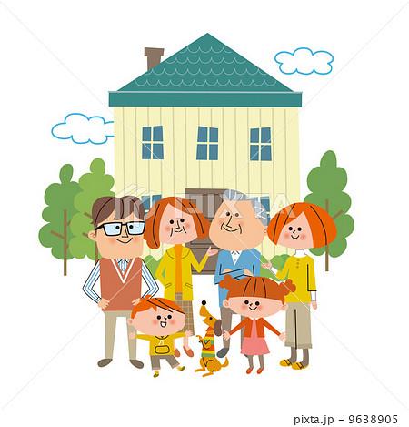 家の前に並ぶ6人家族とペットのイラスト素材 9638905 Pixta