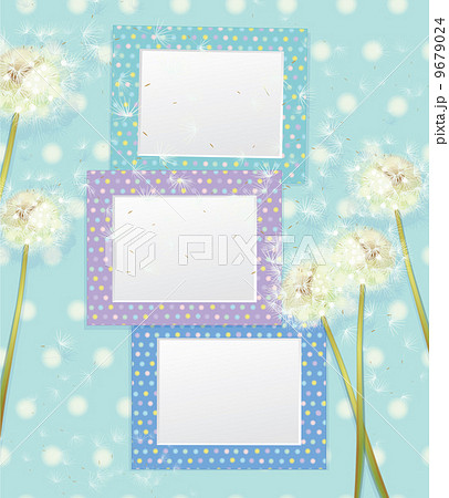 vector colorful empty photo frames and dandelion flowers のイラスト