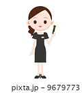 メイクブラシ 美容部員 笑顔のイラスト 9679773