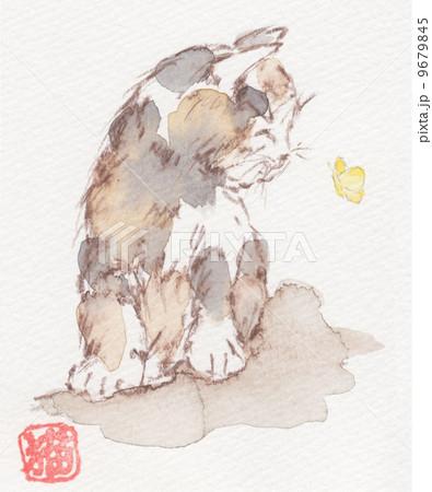イラスト 水彩 猫8 9679845