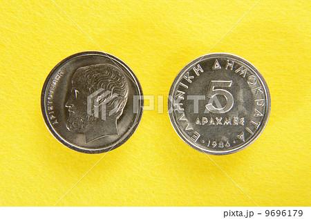 ギリシャ硬貨5ドラクマのアリストテレス 9696179