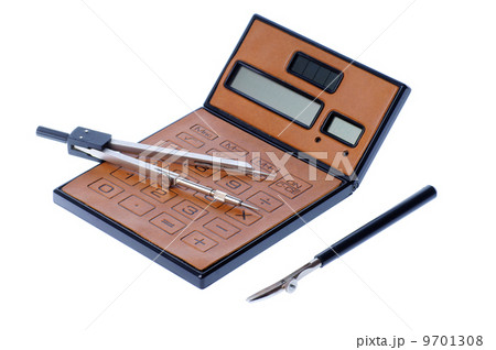 brown calculator and compassの写真素材 [9701308] - PIXTA