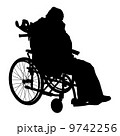 One handicapped man in wheelchair silhouette. Vector illustratio 9742256