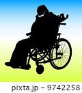 One handicapped man in wheelchair silhouette. Vector illustratio 9742258