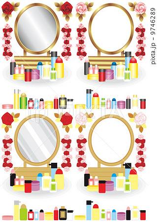 鏡台と化粧品と薔薇の花イラストカットデザインイメージ 9746289