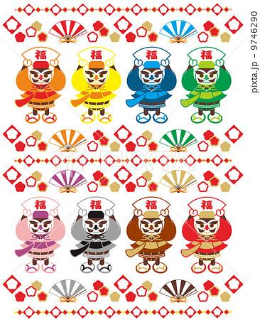 縁起のいいキャラクター(沖縄の伝統衣装「琉装」を着た福達磨と扇子)おめでたいイラストデザイン素材集 9746290