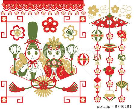 3月3日桃の節句雛祭り用イラストカットデザインイメージ素材(おめでたい配色赤茶抹茶色) 9746291