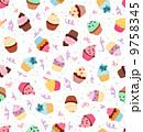 カップケーキ 背景 スイートのイラスト 9758345