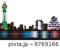 大阪夜景のイメージイラスト 9769166