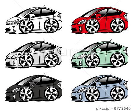 トヨタ プリウス 3代目 前期 ツーリングセレクション デフォルメイラストのイラスト素材