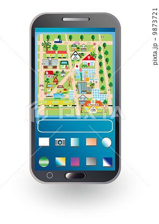 スマホで地図アプリのイラストのイラスト素材 9873721 Pixta