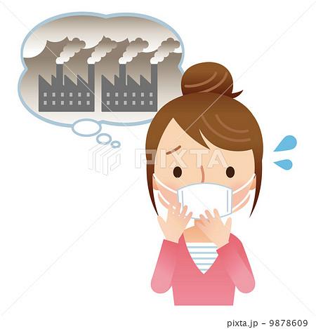 大気汚染 心配 かわいい主婦 のイラスト素材 9878609 Pixta