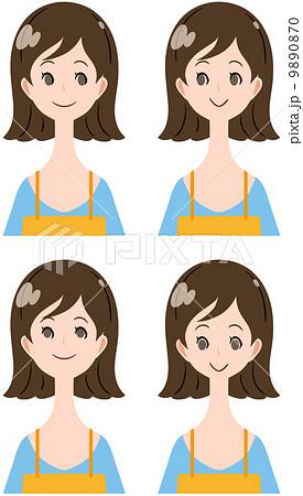 女性 表情 目線 上下左右のイラスト素材 9890870 Pixta