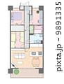3LDKマンションの見取り図と家具の配置 9891335