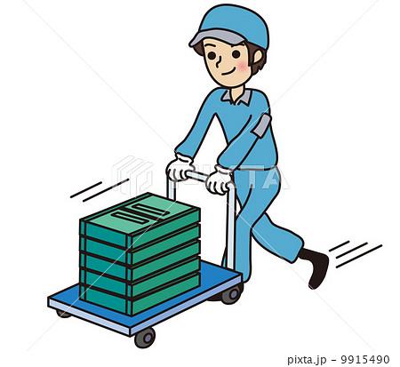 コンテナボックスを運搬する男性...
