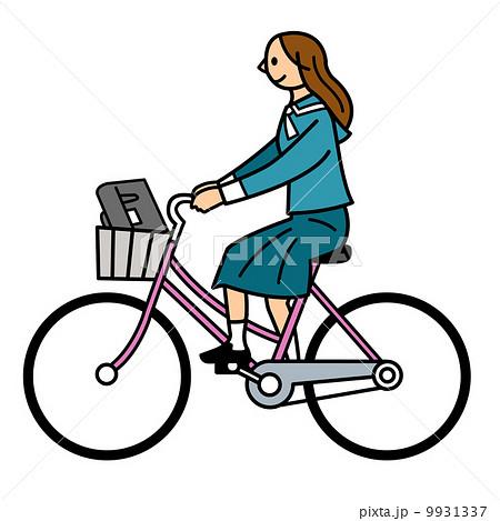 自転車に乗る女学生のイラスト素材 [9931337] - PIXTA