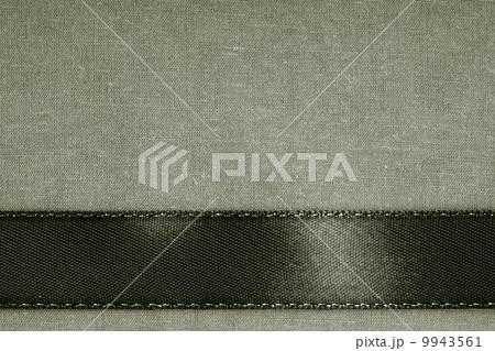 Dark background black ribbon on gray cloth textureの写真素材 [9943561] - PIXTA