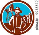 Organic Farmer Shovel Windmill Woodcut Retro 9958829