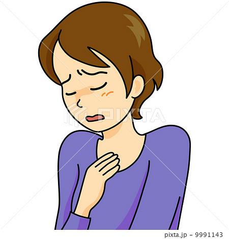 ストレス 女性 胸が苦しい 息切れのイラスト素材 9991143 Pixta