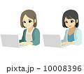 パソコンに夢中な女性 10008396