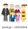 三世代 家族 着物のイラスト 10010944