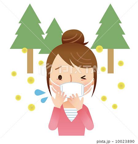 マスクをする女性 花粉症 10023890