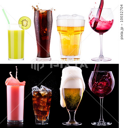 Collection of different images alcohol isolatedの写真素材 [10032704] - PIXTA