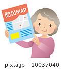 防災マップ 女性 シニアのイラスト 10037040