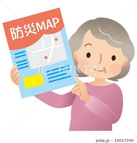 防災マップ かわいいシニア主婦 防災対策 10037040