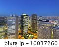 トワイライトの新宿高層ビル街と東京都心の街並 10037260